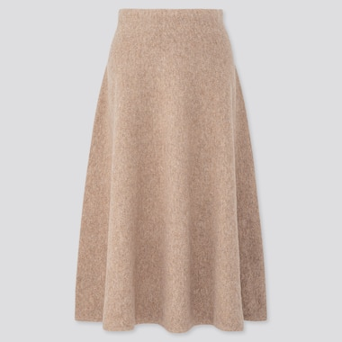 WOMEN SOUFFLE YARN FLARE SKIRT, BEIGE, medium