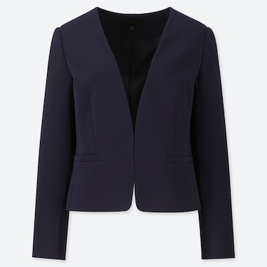 WOMEN PONTE COLLARLESS JACKET (ONLINE EXCLUSIVE), NAVY, medium