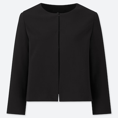 WOMEN PONTE ROUND NECK JACKET (ONLINE EXCLUSIVE), BLACK, medium
