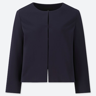 WOMEN PONTE ROUND NECK JACKET (ONLINE EXCLUSIVE), NAVY, medium