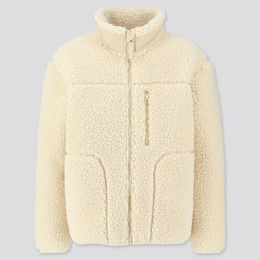KIDS FLUFFY YARN FLEECE FULL-ZIP BLOUSON, OFF WHITE, medium