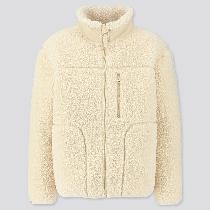 Kids Fluffy Yarn Fleece Full-zip Blouson, Off White, Large