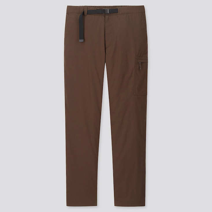 Men Heattech Warm-Lined Pants, Brown, Large