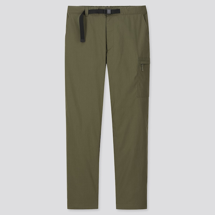 Men Heattech Warm-Lined Pants, Dark Green, Large