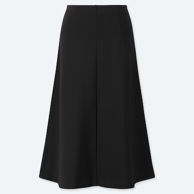 WOMEN PONTE KNIT FLARED MIDI SKIRT