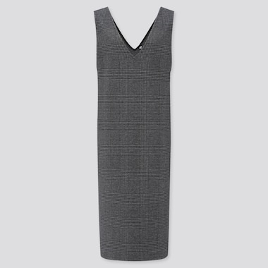 WOMEN CHECKED JUMPER DRESS, DARK GRAY, medium