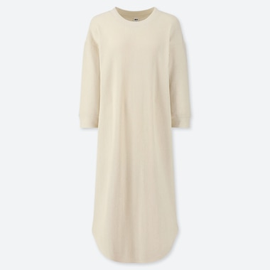 WOMEN WAFFLE CREW NECK 3/4 SLEEVED DRESS