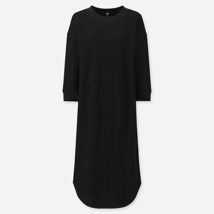 WOMEN WAFFLE CREW NECK 3/4 SLEEVE DRESS, BLACK, large