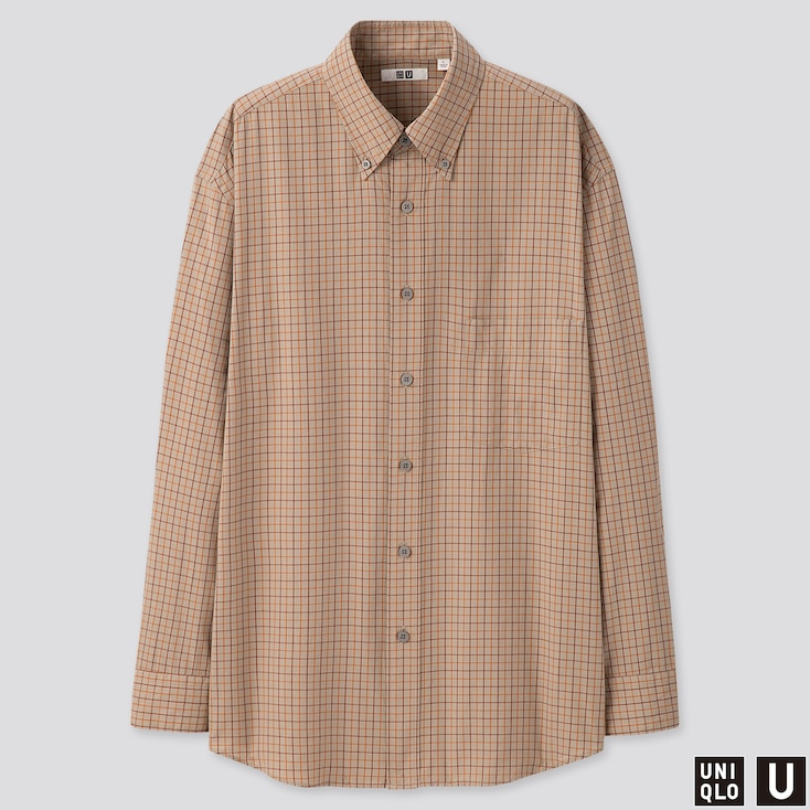 MEN U MODAL COTTON CHECKED T-SHIRT, BEIGE, large