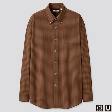 MEN U MODAL COTTON CHECKED T-SHIRT, BROWN, medium