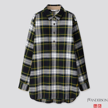 WOMEN FLANNEL CHECKED LONG-SLEEVE TUNIC (JW ANDERSON), DARK GREEN, medium