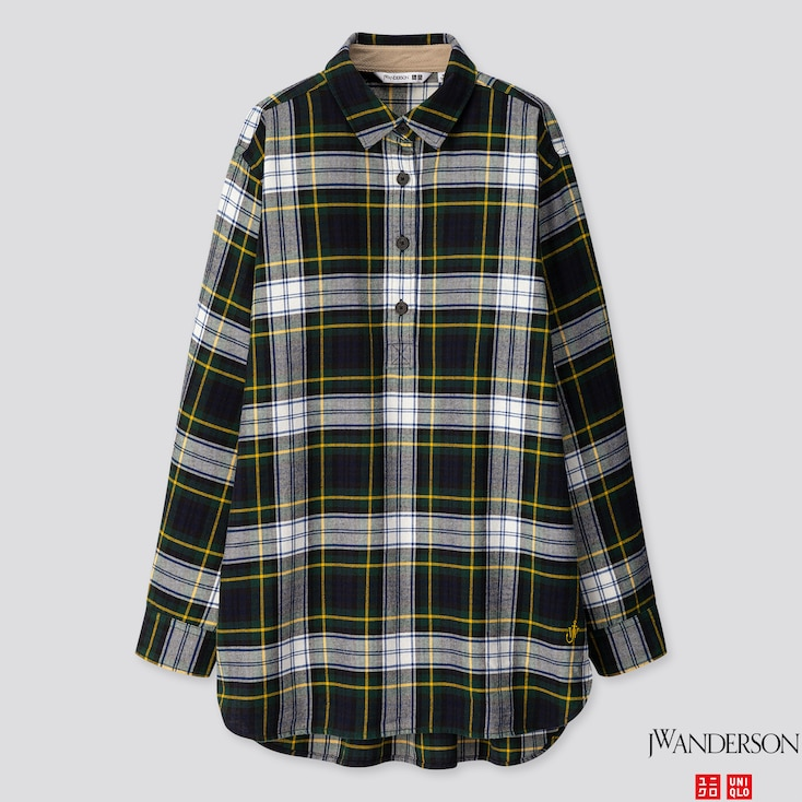 WOMEN FLANNEL CHECKED LONG-SLEEVE TUNIC (JW ANDERSON), DARK GREEN, large