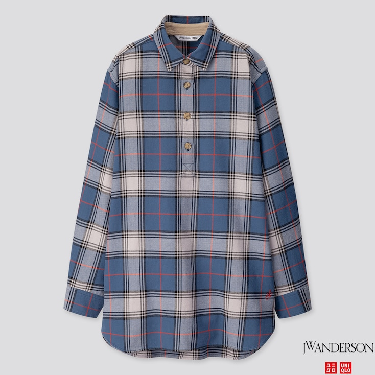 WOMEN FLANNEL CHECKED LONG-SLEEVE TUNIC (JW ANDERSON), BLUE, large