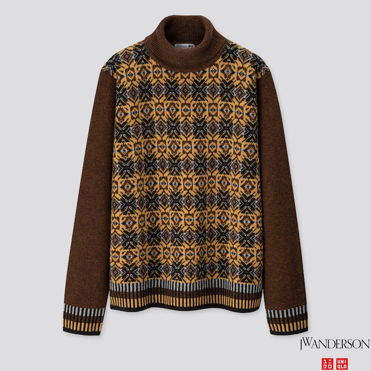 MEN PREMIUM LAMBSWOOL JACQUARD TURTLENECK  SWEATER (JW ANDERSON), DARK BROWN, large