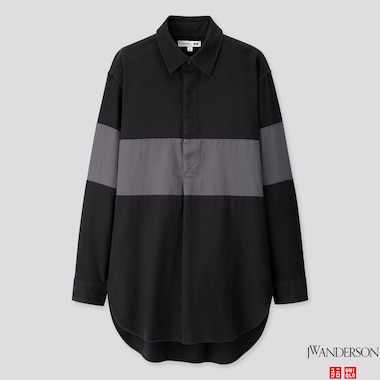 MEN FLANNEL PULLOVER LONG-SLEEVE SHIRT (JW ANDERSON), BLACK, medium