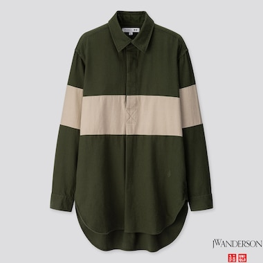 MEN FLANNEL PULLOVER LONG-SLEEVE SHIRT (JW ANDERSON), DARK GREEN, medium