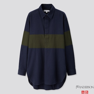 MEN FLANNEL PULLOVER LONG-SLEEVE SHIRT (JW ANDERSON), NAVY, medium