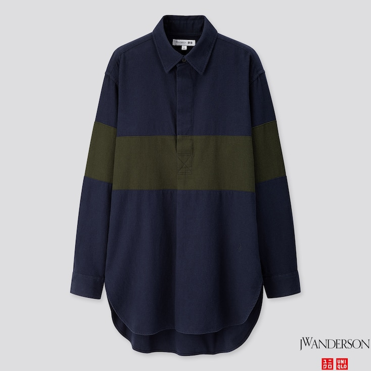 Men Flannel Pullover Long-sleeve Shirt (jw Anderson), Navy, Large