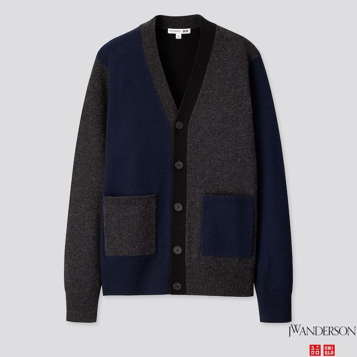 Men Premium Lambswool Long-sleeve Cardigan (jw Anderson), Dark Gray, Large