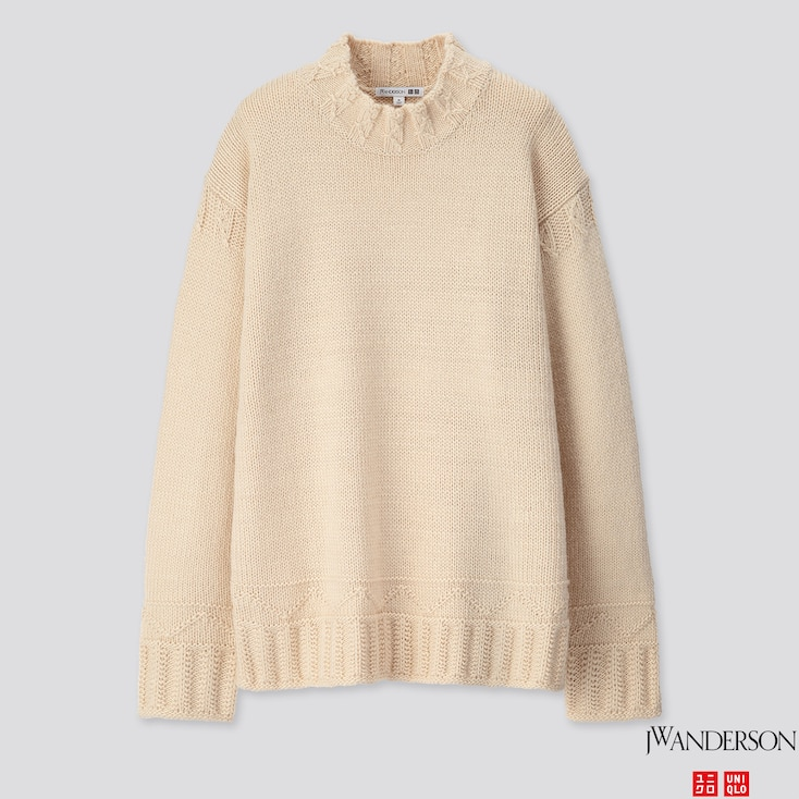 MEN LOW GAUGE CREW NECK LONG-SLEEVE SWEATER (JW ANDERSON), NATURAL, large