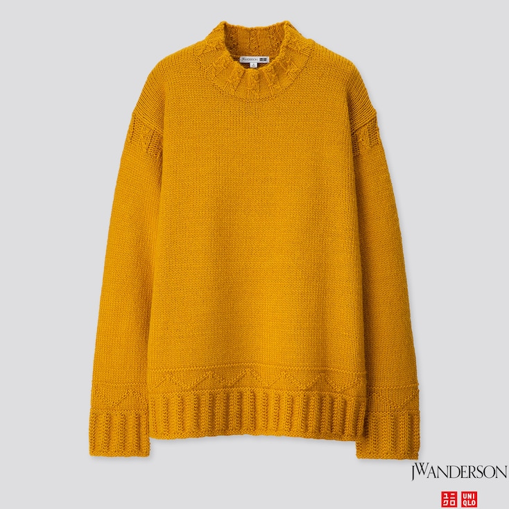 MEN LOW GAUGE CREW NECK LONG-SLEEVE SWEATER (JW ANDERSON), YELLOW, large