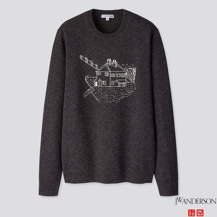 MEN JACQUARD CREW NECK LONG-SLEEVE SWEATER (JW ANDERSON), DARK GRAY, large
