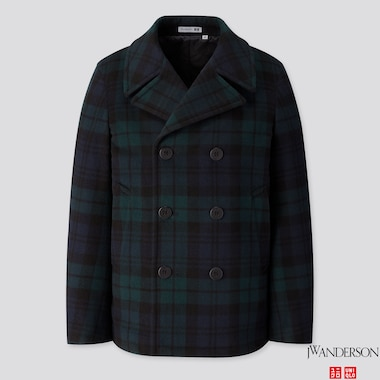 MEN WOOL PEACOAT (JW ANDERSON), DARK GREEN, medium