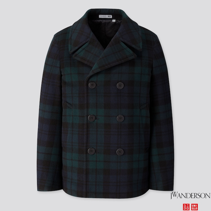 Men Wool Peacoat (jw Anderson), Dark Green, Large
