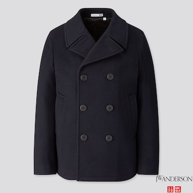 MEN WOOL PEACOAT (JW ANDERSON), NAVY, medium