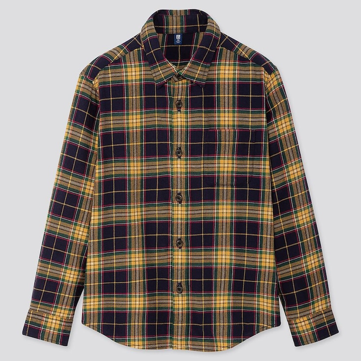 KIDS FLANNEL CHECKED LONG-SLEEVE SHIRT, YELLOW, large