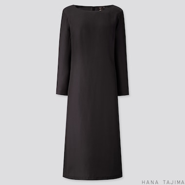 WOMEN SILK BLENDED LONG-SLEEVE LONG DRESS (HANA TAJIMA), BLACK, medium