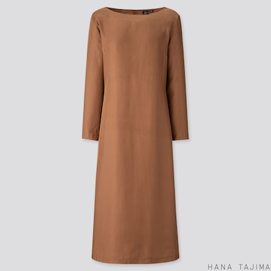 WOMEN SILK BLENDED LONG-SLEEVE LONG DRESS (HANA TAJIMA), BROWN, medium