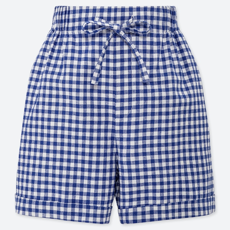 WOMEN LINEN COTTON BLEND RELAXED FIT CHECKED SHORTS
