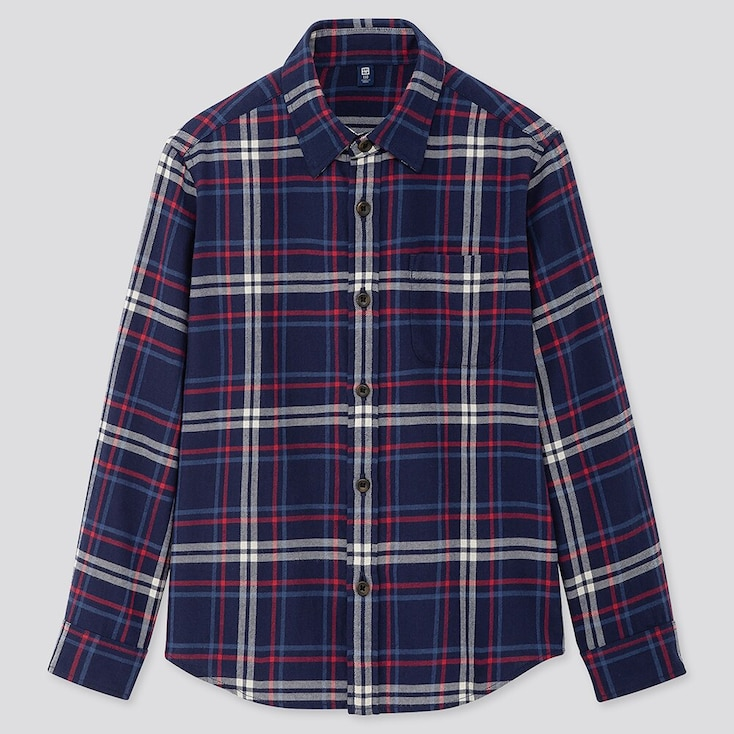 KIDS FLANNEL CHECKED LONG-SLEEVE SHIRT, NAVY, large