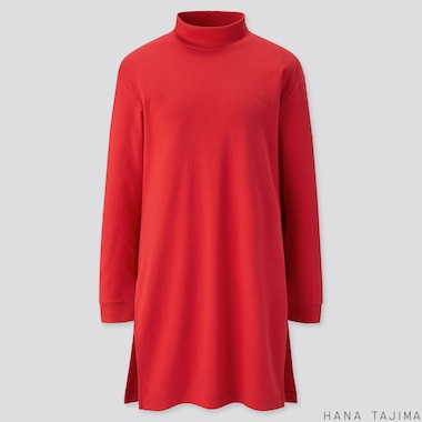 WOMEN SOFT TOUCH LONG-SLEEVE TUNIC (HANA TAJIMA), RED, medium