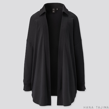 WOMEN SOFT TOUCH LONG-SLEEVE CARDIGAN (HANA TAJIMA), BLACK, medium