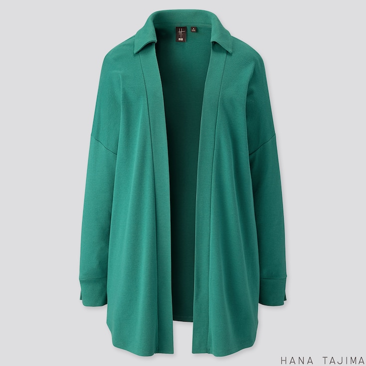 WOMEN SOFT TOUCH LONG-SLEEVE CARDIGAN (HANA TAJIMA), GREEN, large