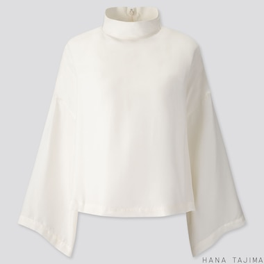WOMEN SILK BLEND LONG-SLEEVE BLOUSE (HANA TAJIMA), OFF WHITE, medium