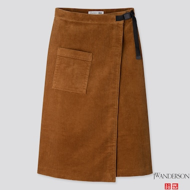 WOMEN CORDUROY WRAPPED SKIRT (JW ANDERSON), BROWN, medium