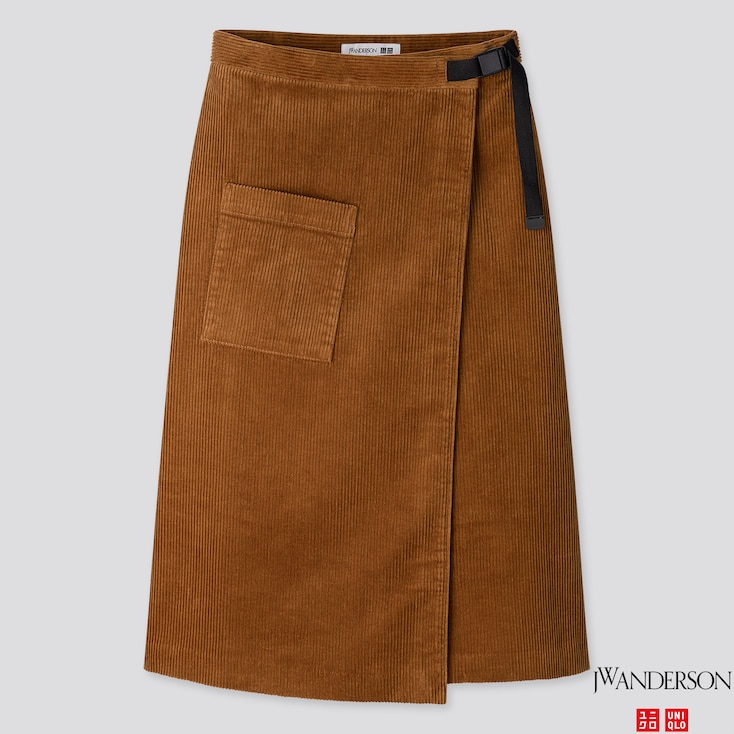 WOMEN CORDUROY WRAPPED SKIRT (JW ANDERSON), BROWN, large