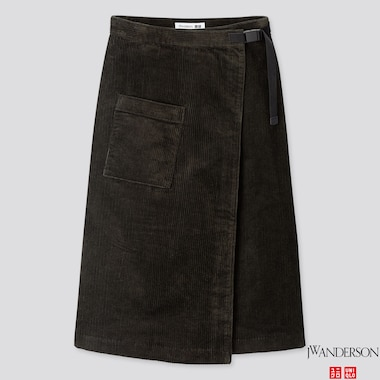 WOMEN CORDUROY WRAPPED SKIRT (JW ANDERSON), DARK GREEN, medium