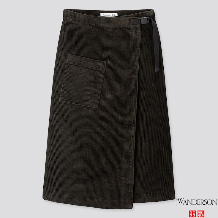Women Corduroy Wrapped Skirt (jw Anderson), Dark Green, Large