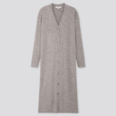 WOMEN MERINO-BLEND RIBBED LONG CARDIGAN, GRAY, medium
