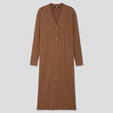 WOMEN MERINO-BLEND RIBBED LONG CARDIGAN, BROWN, medium