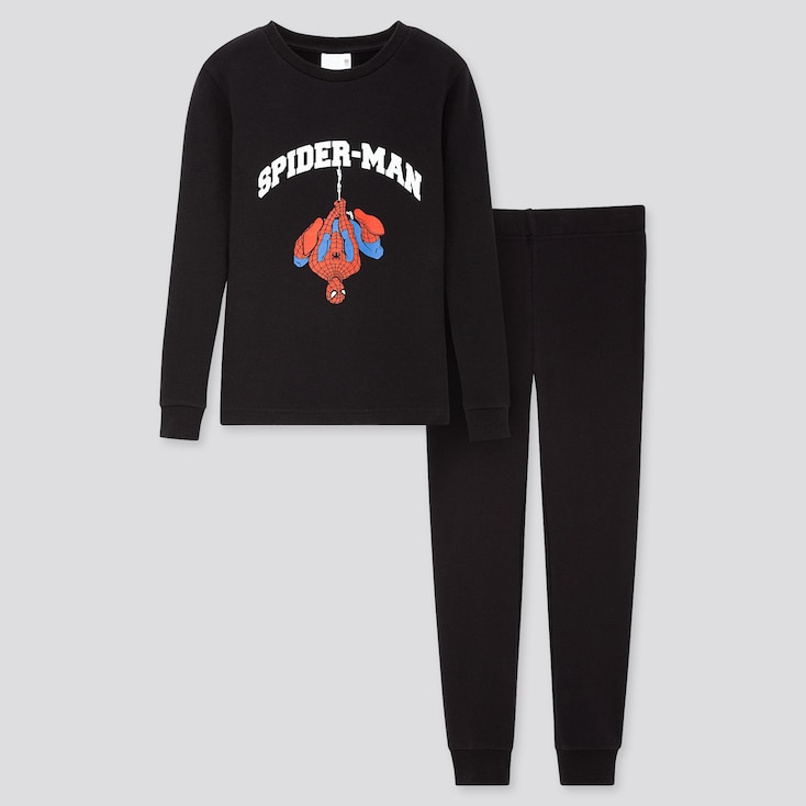 Kids Marvel Ultra Stretch Long-sleeve Sweat Set, Black, Large