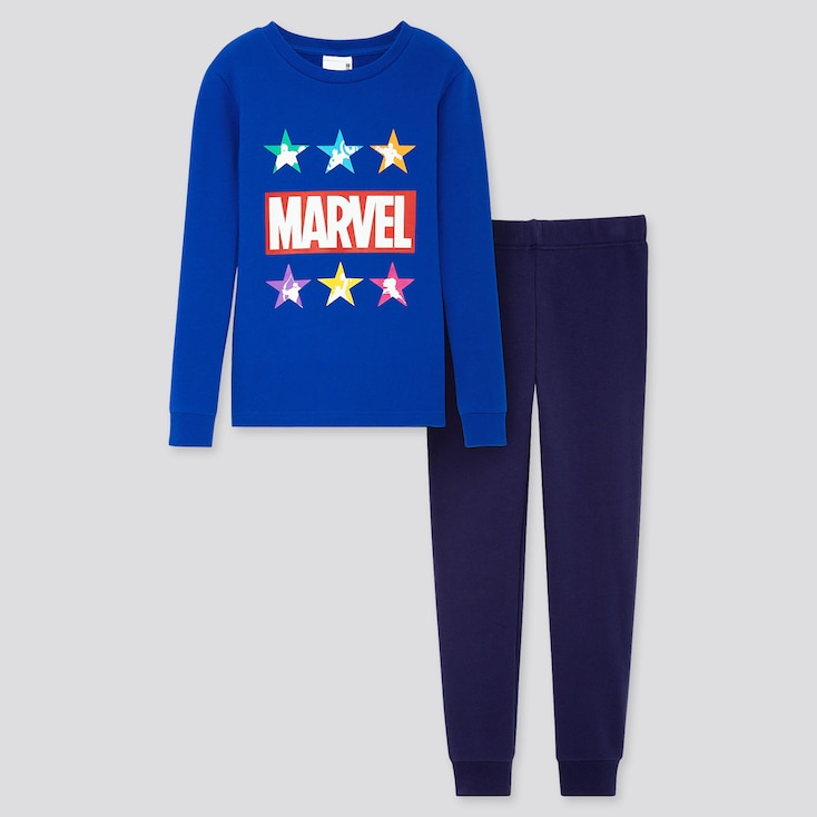 Kids Marvel Ultra Stretch Long-sleeve Sweat Set, Blue, Large