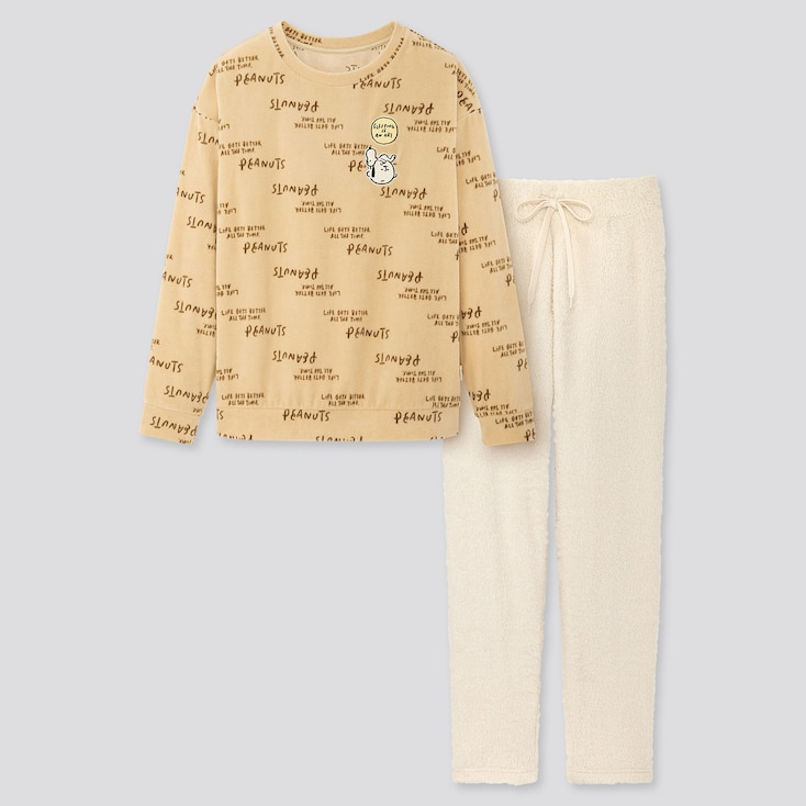 Women Peanuts Yu Nagaba Long-Sleeve Fleece Set, Beige, Large