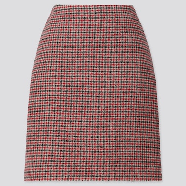 WOMEN WOOL-BLEND MINI SKIRT, RED, medium