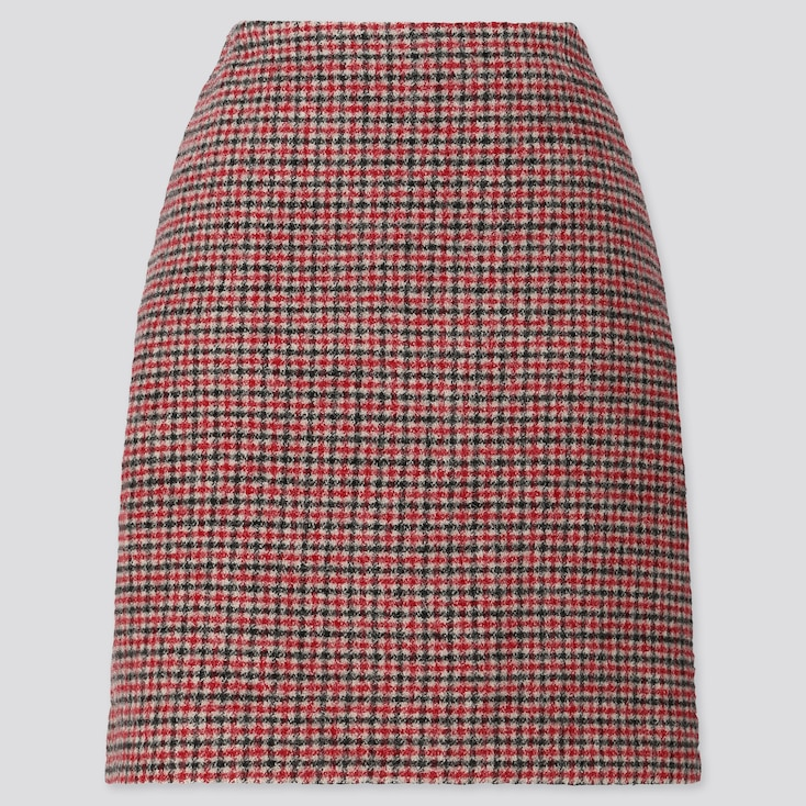 WOMEN WOOL-BLEND MINI SKIRT, RED, large