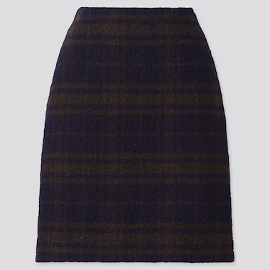Women Wool-Blend Mini Skirt, Navy, Medium